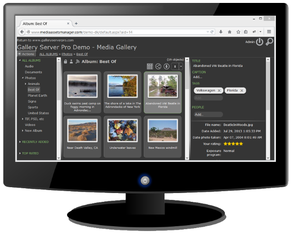 Screenshot of Gallery Server demo - dark theme