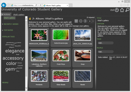 screenshot of web-based photo gallery