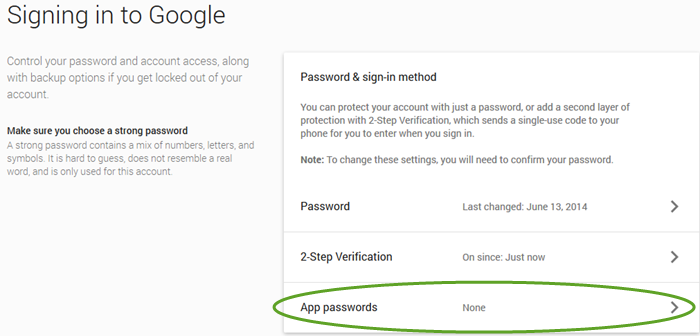 Google sign-in settings when 2-step verification is enabled