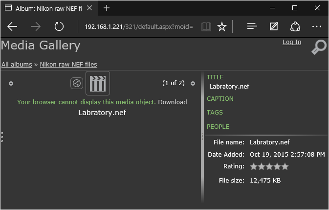 Nikon raw NEF files treated as generic media assets in Gallery Server