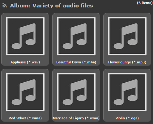 Screenshot of a variety of audio thumbnails