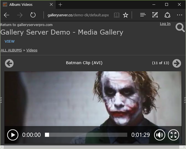 Screenshot of Batman video clip