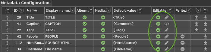 See editing options on the Metadata page