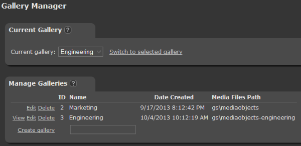 Screenshot of multiple galleries in Gallery Manager