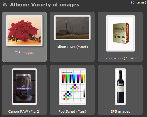 Screenshot of a variety of image formats (thumbnails)