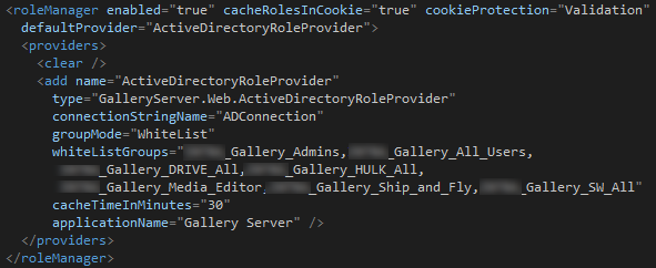 AD group provider configuration in web.config
