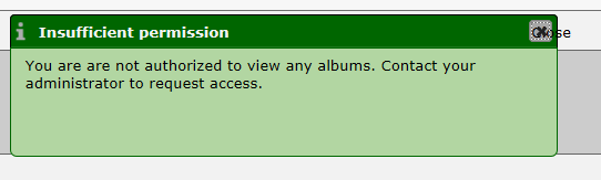 Message indicating user is authenticated but does not have access to any albums in the gallery